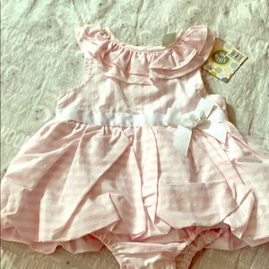 NWT little me pink candystriper dress